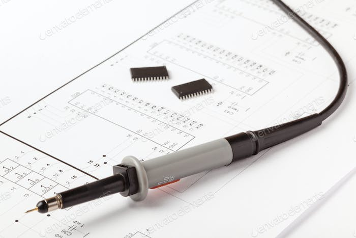 Soldering iron on drawing of electronic device