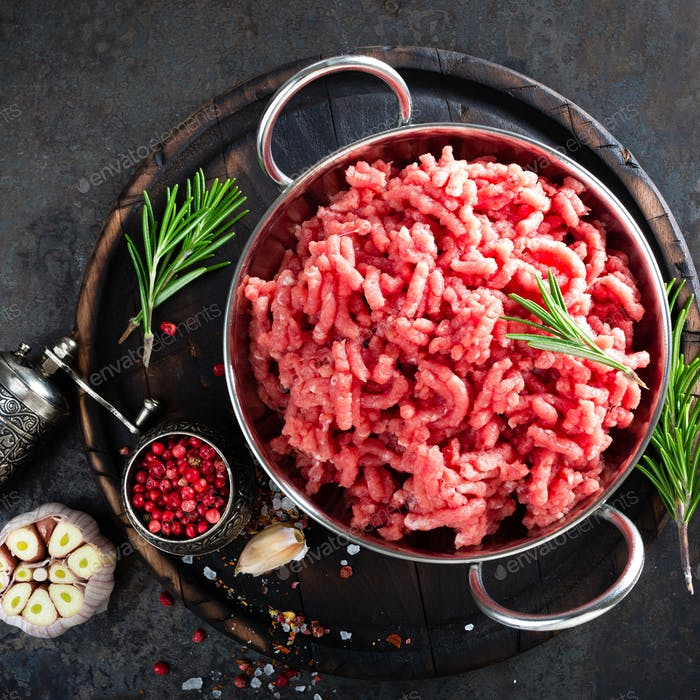 Cooking mince. Raw ground veal meat