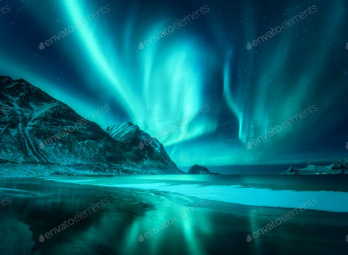 Amazing aurora borealis. Northern lights in Lofoten islands