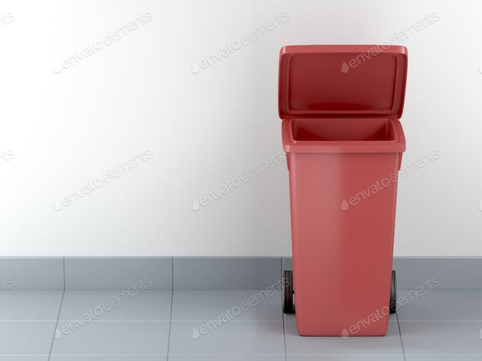 Roter Kunststoff-Abfallbehälter