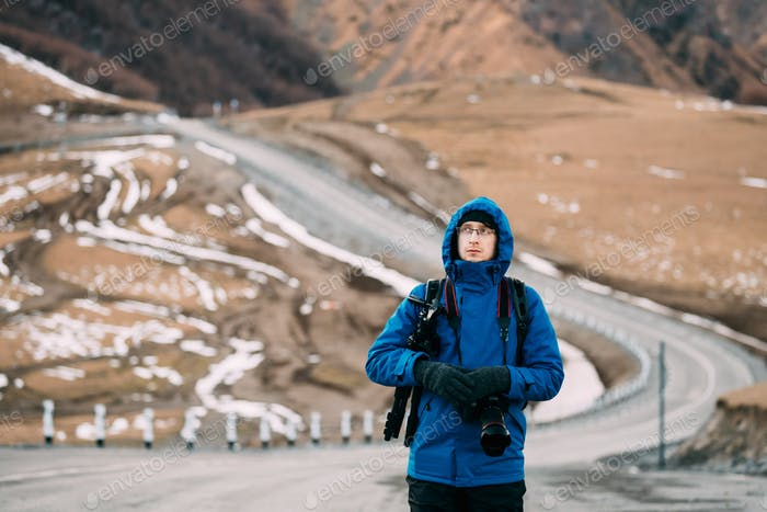 Young Adult Caucasian Man Tourist Backpacker Traveler Photograph