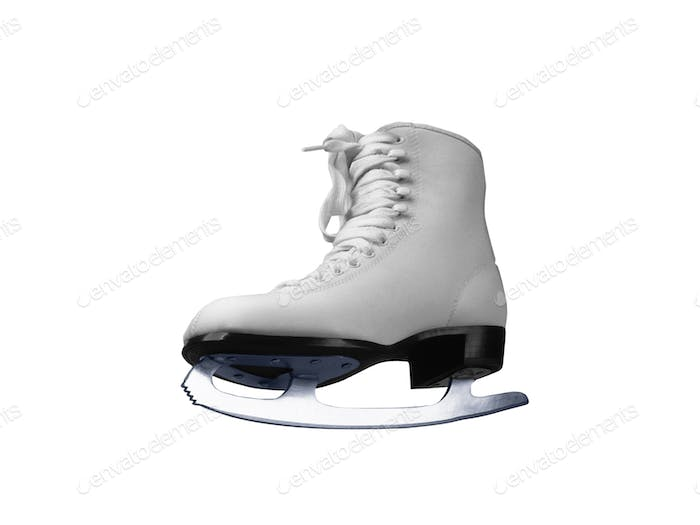 White skates for figure skating on ice