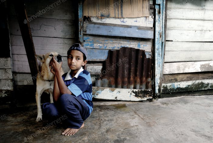 Malaysian Boy and Dog