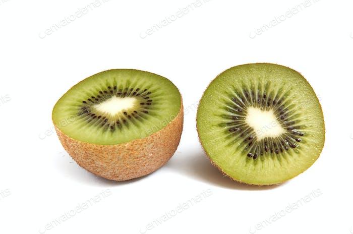 Pieces of kiwi  on white background.