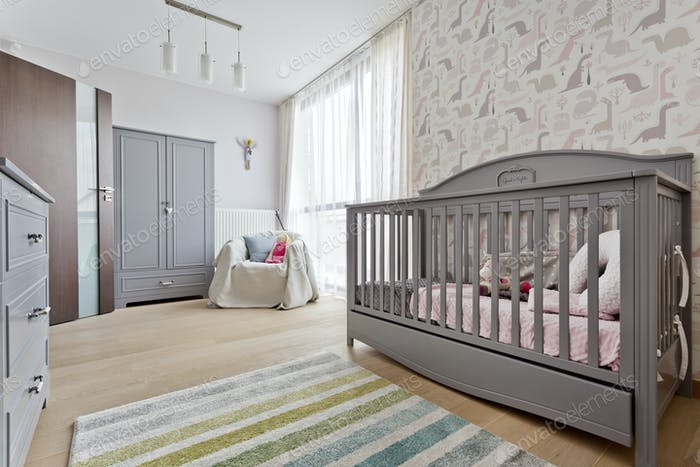Nursery with wooden grey cradle