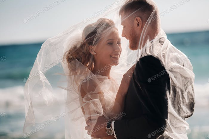 wedding couple on the French Riviera.Wedding in Provence.Bride and groom in France