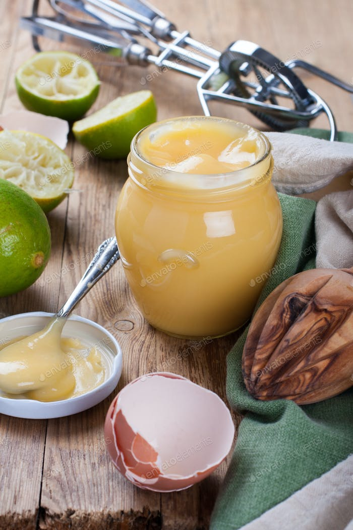 Jar of lime curd