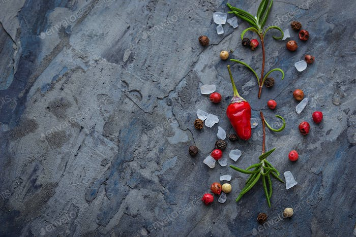 Red hot chilli peppers, rosemary and salt