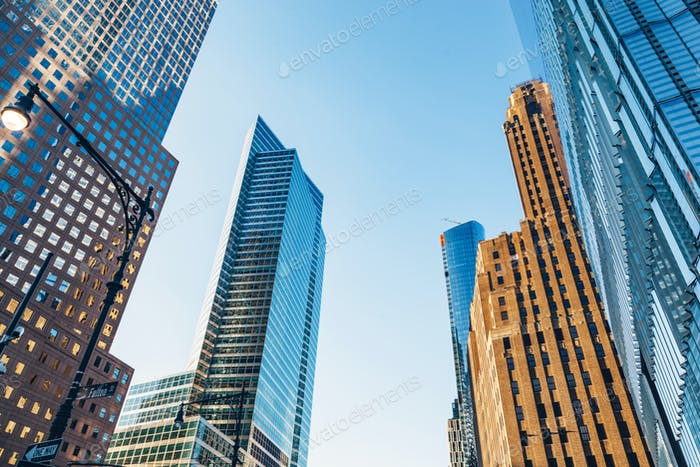 Manhattan skyscrapers in New York City, the USA