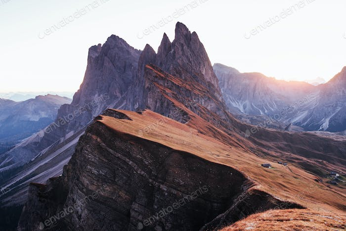 On the Seceda dolomites in Italy. Breathtaking moment of the evening sunset