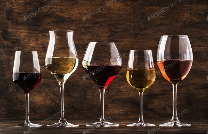Wine set. Red, white and rose wine in assortment