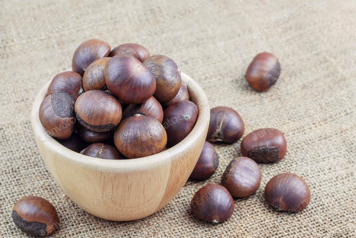 Chestnuts roasted in bowl