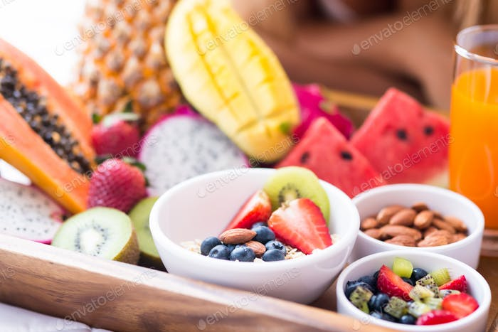 Close up of a tray with exotic fresh fruits