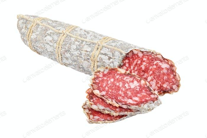 Sliced salami sausage isolated