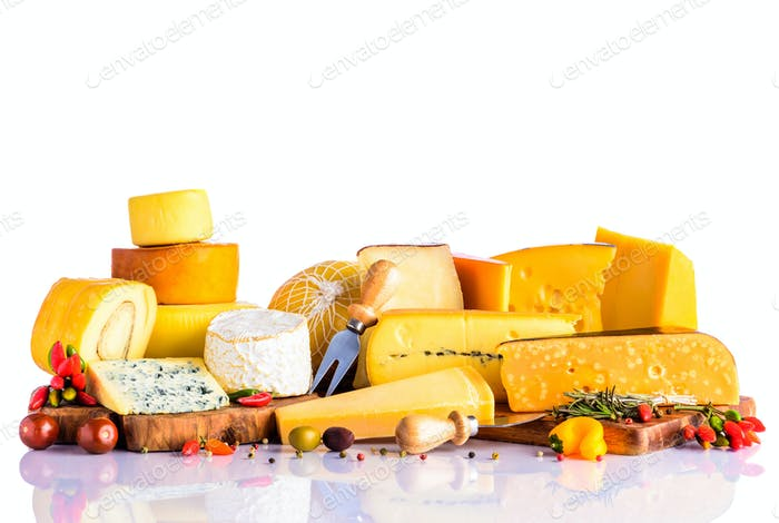 Cheese and Vegetables on White Background