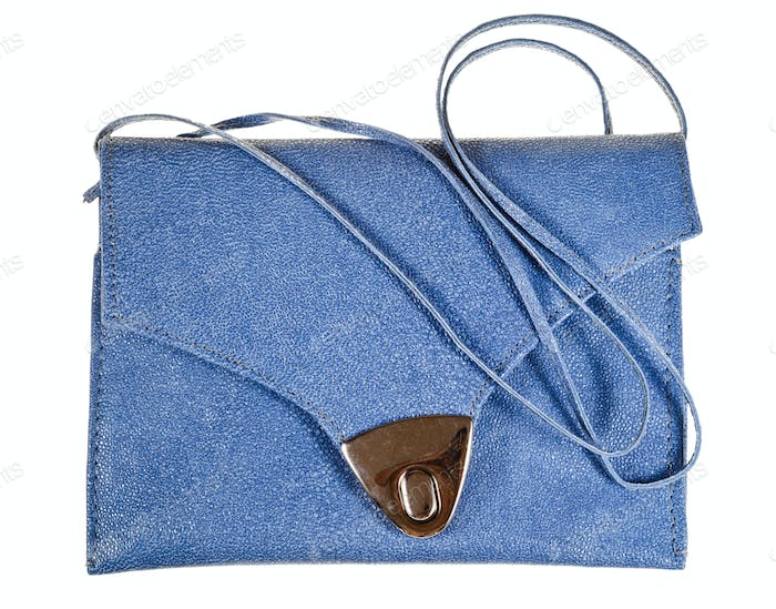 leather small flat handbag