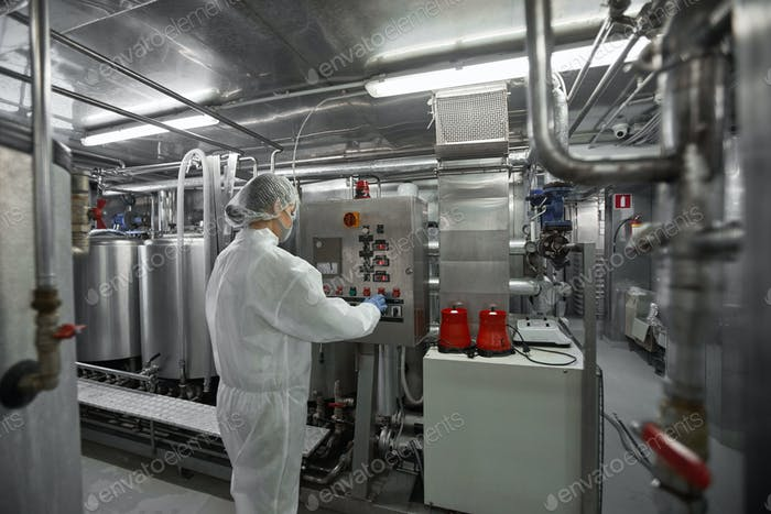 Female Worker at Modern Food Factory