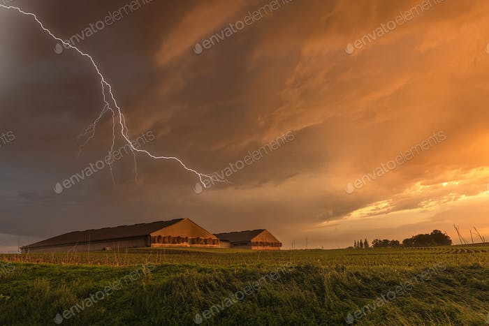Lightning over grain storage facilities