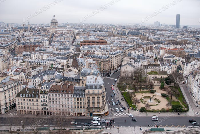 top view on Paris