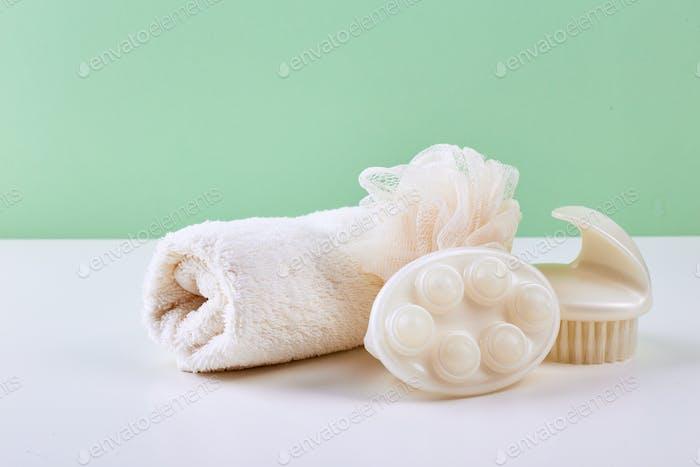 Bathroom Accessories - Shampoo, loofah, towel, bath salt and body brush