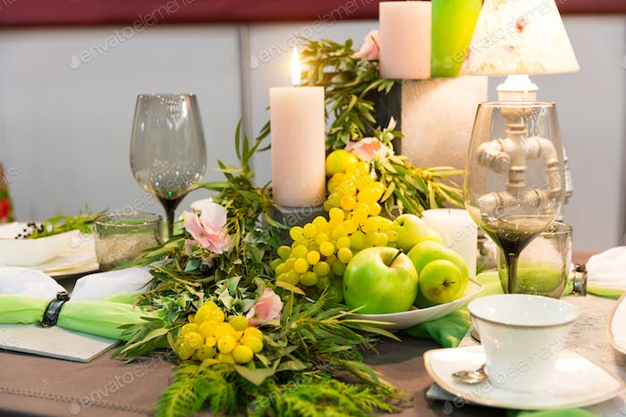 Romantic dinner, table with decoration, nobody
