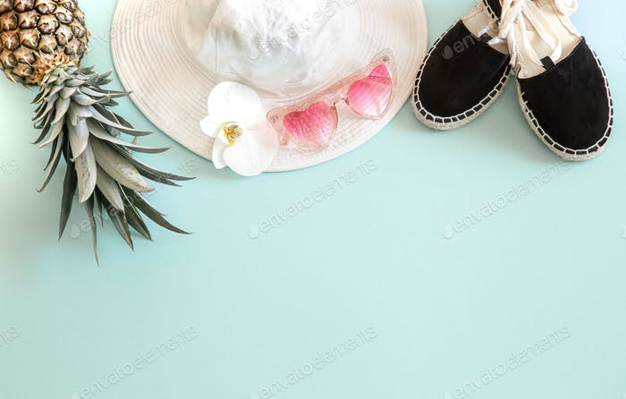 Summer stylish background with summer different accessories.