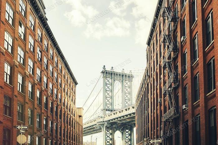 Manhattan Bridge seen from Dumbo, New York.