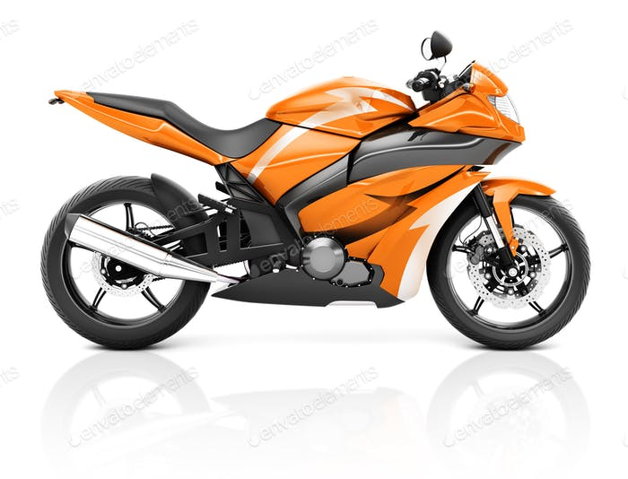 3D Image of a Orange Modern Motorbike