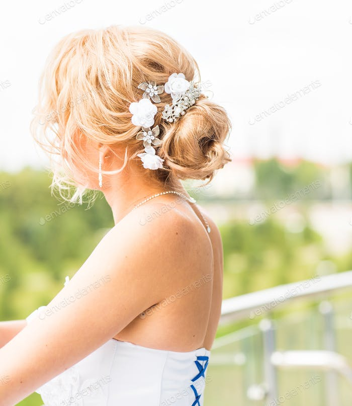 Wedding hairstyle view from the back
