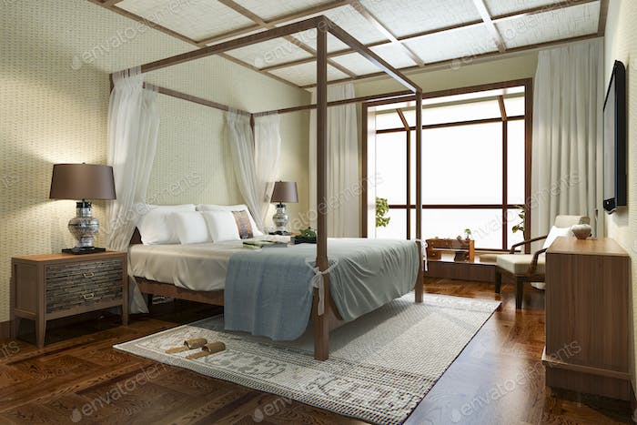 3d rendering luxury tropical bedroom suite in resort hotel and resort