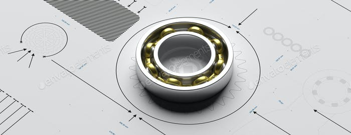 Ball bearing, metal spare part on a blueprint. 3d illustration