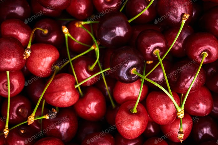 Cherries background. Sweet red cherries