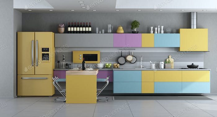 Modern Kitchen in pastel colors