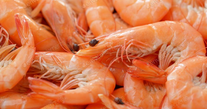 Stack of fresh cooked shrimp