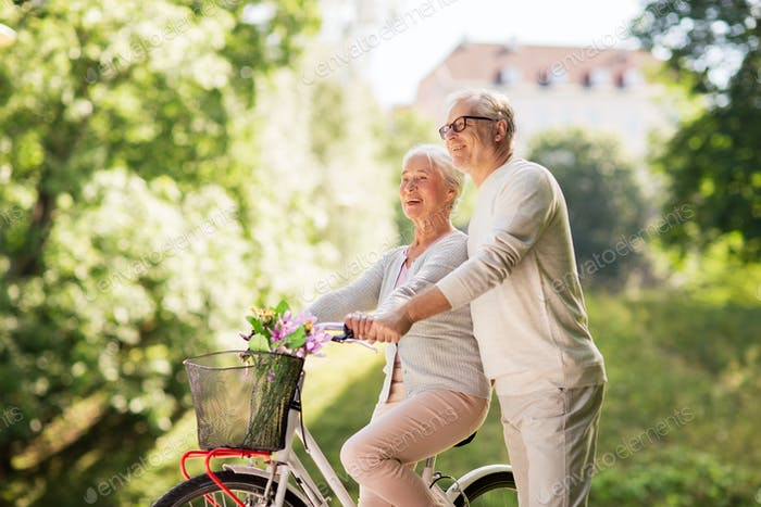 happy senior couple with bicycle at summer park