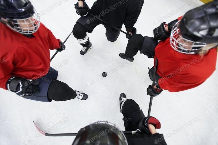 Vista superior del equipo de hockey
