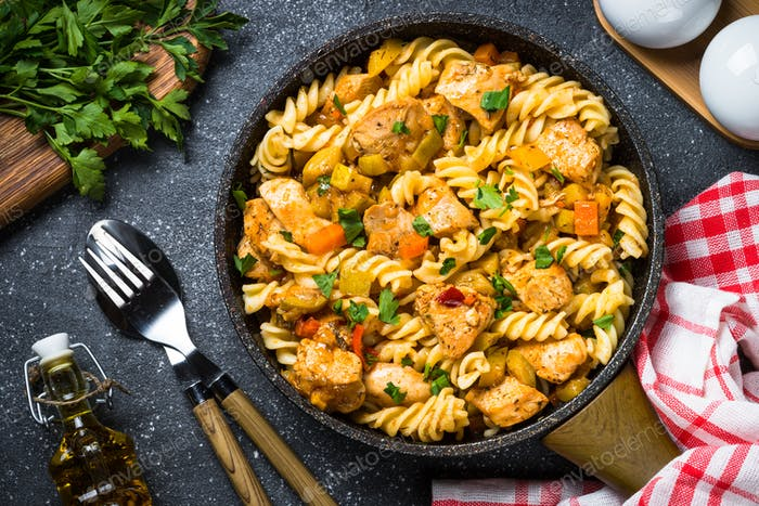 Pasta with Chicken and vegetables, top view