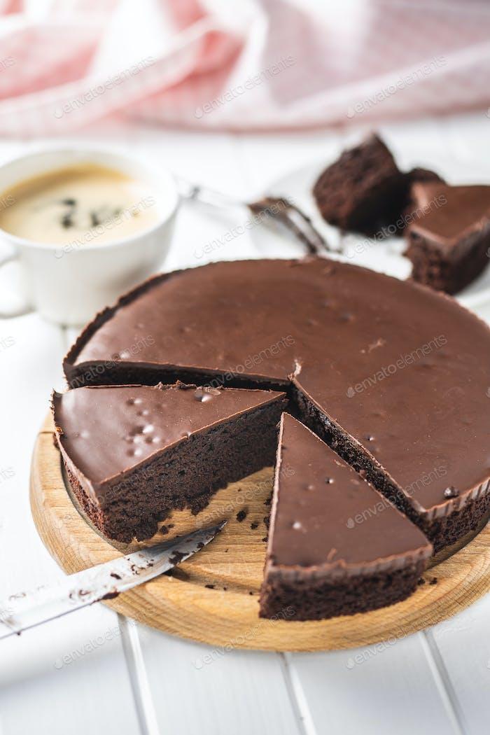 Schokoladen-Brownies Kuchen.