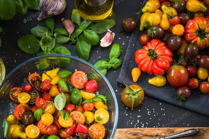 Healthy salad from chopped raw tomatoes,italian diet