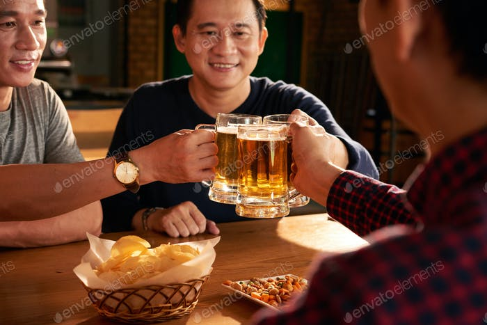 Toasting with fresh beer