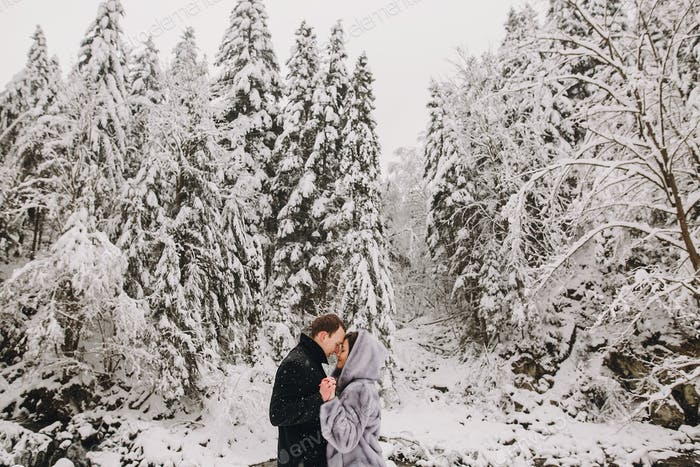 Happy romantic man and woman in luxury clothes gently kissing at waterfall in snow