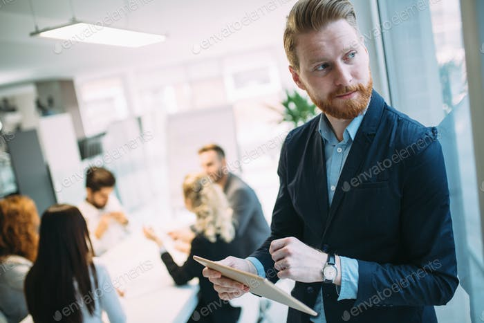 Handsome businessman ceo working in office