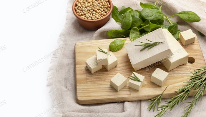 Healthy food without meat. Tofu and herbs