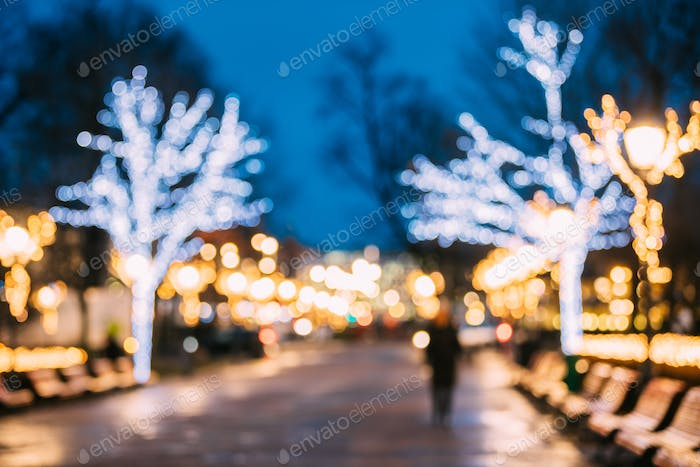 Helsinki, Finland. Bokeh Background Of Esplanadi Park In Lightin