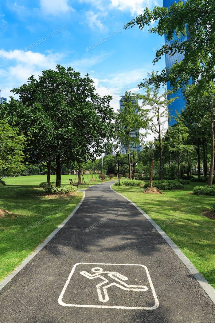 jogging road in city park