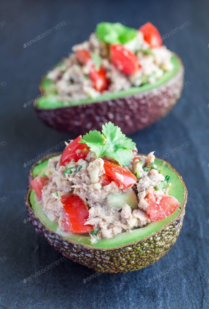 Salad with tuna, avocado, tomatos, coriander and lemon juice in