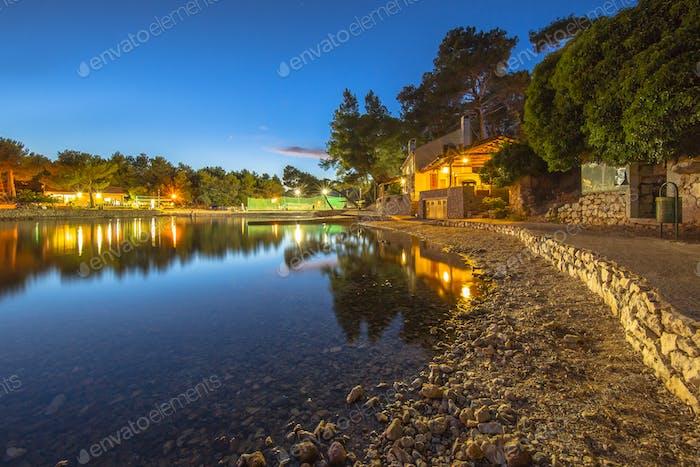 Rocky bay on a summer night