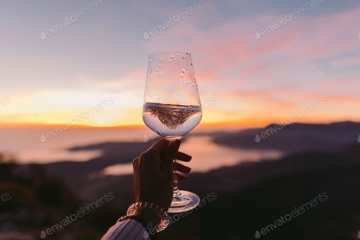 wine tasting at sunset