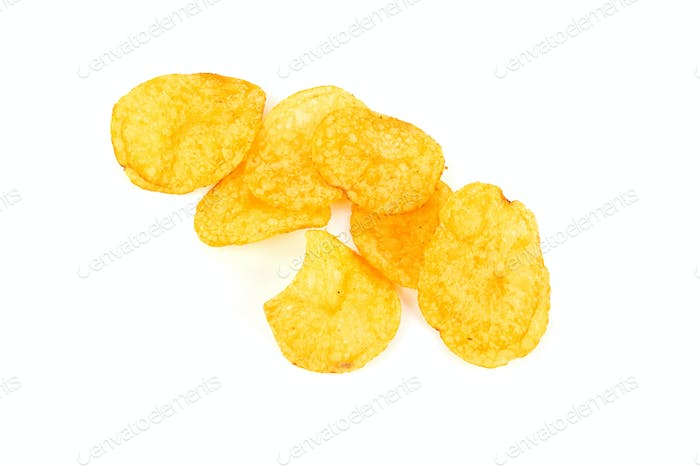 Potato chips isolated a on white background