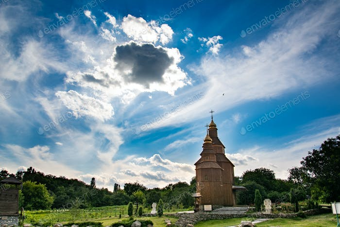 Old church on a blue sky background. Beautiful landscape